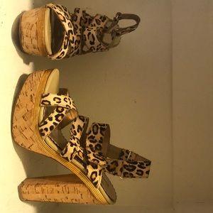 BEBE cork cheetah strapped heel